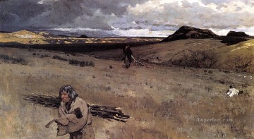 oil Works - The Toilers of the Plains west Indian native Americans Henry Farny